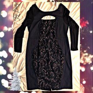 🥈Knee-Length Long Sleeve Sequin Dress